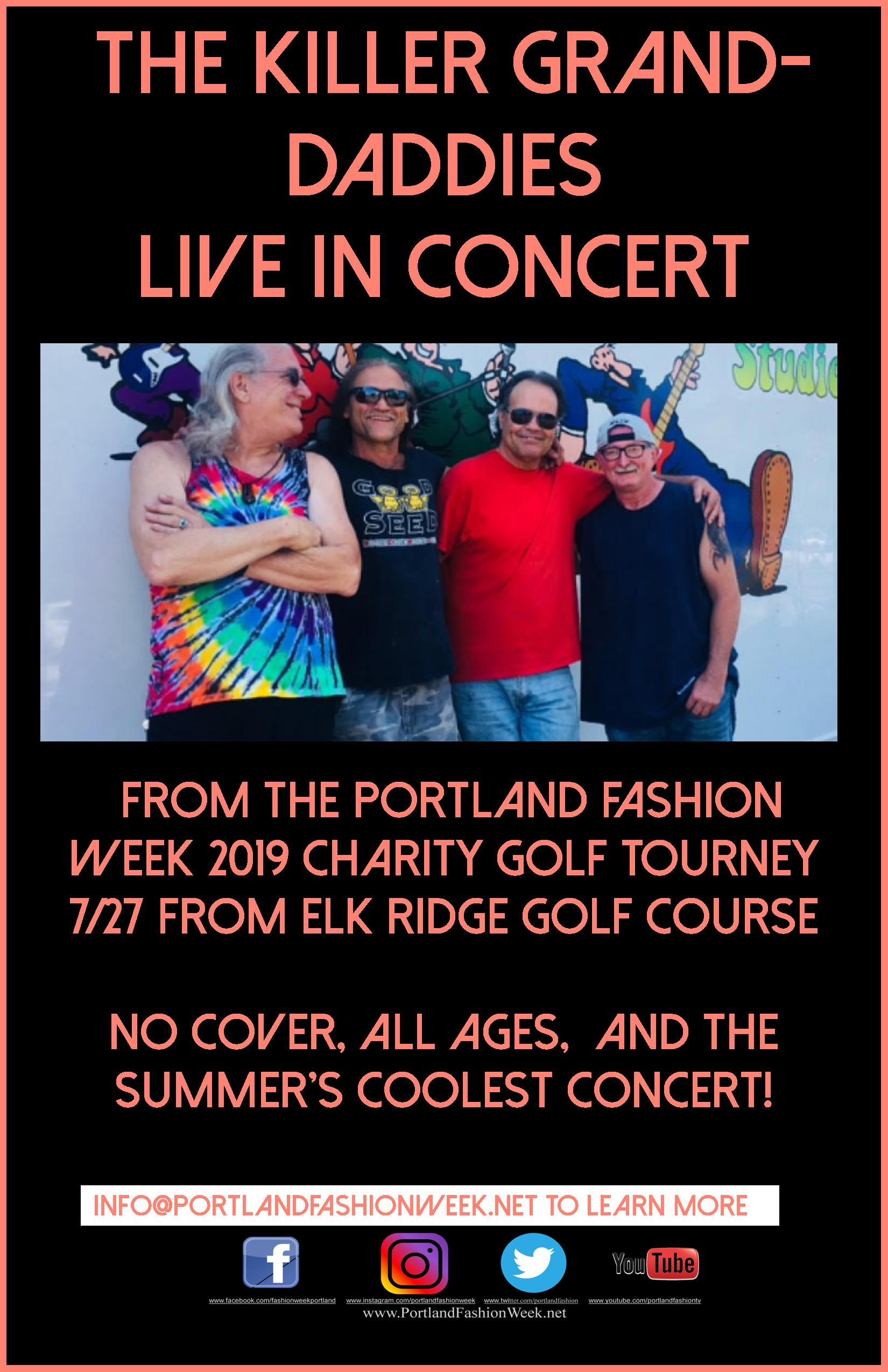 """Dave Dahl and The Killer Granddaddies! - ALL ages, no cover, the coolest band, most beautiful course, and YOU will make it another night to remember! Proceeds to benefit the Portland Fashion Foundation's """"New and Expecting Mommies' Fund""""!"""