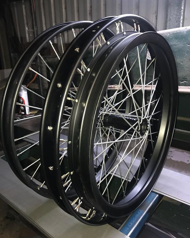 My pride & passion goes into building veteran & Vintage motorcycle wheels. All I need is your hubs, and some specs on your rims & spokes and I can build them up . These are 1912 Ariel. Satin black with zinc spokes.