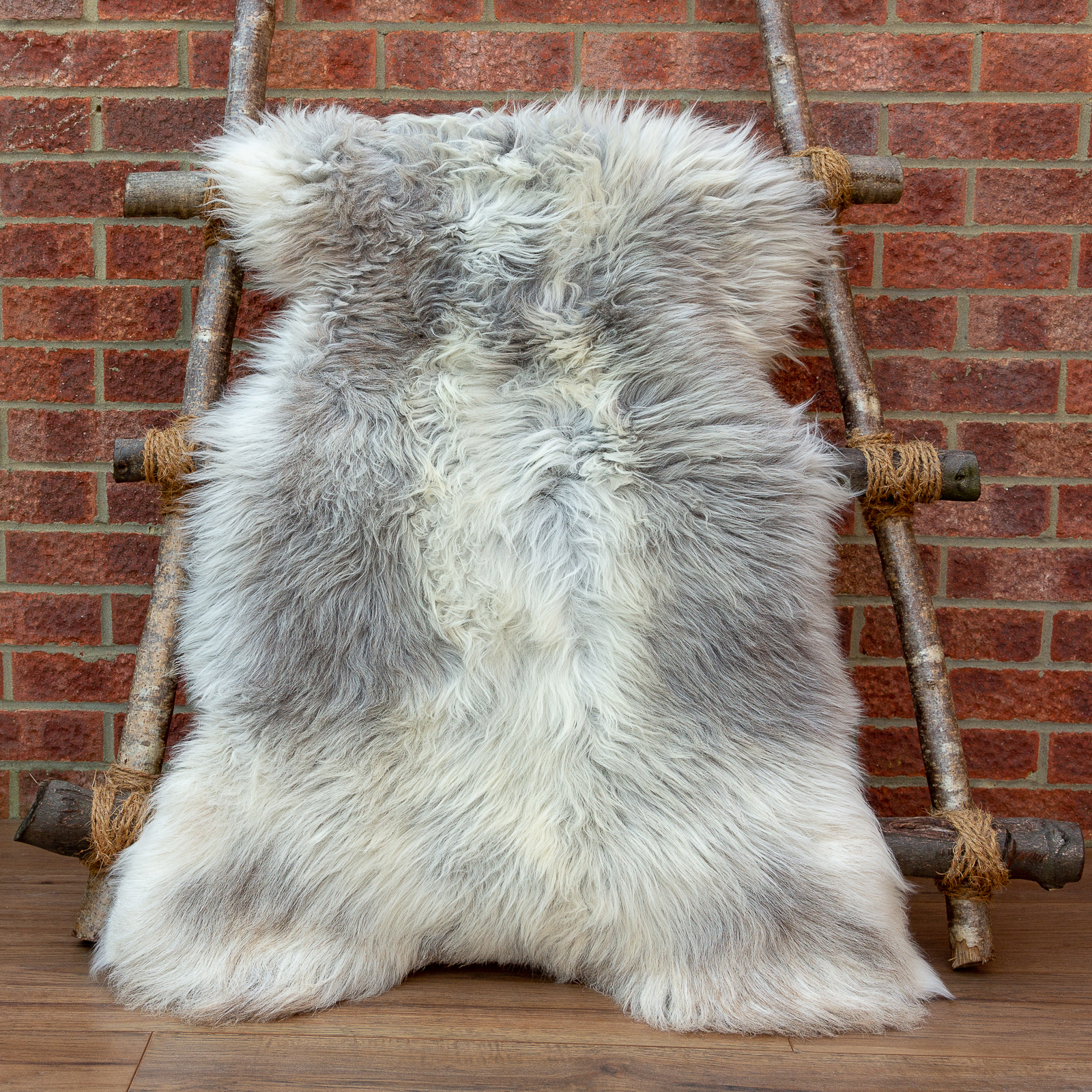 Pale Cream Grey Herdwick sheepskin rug