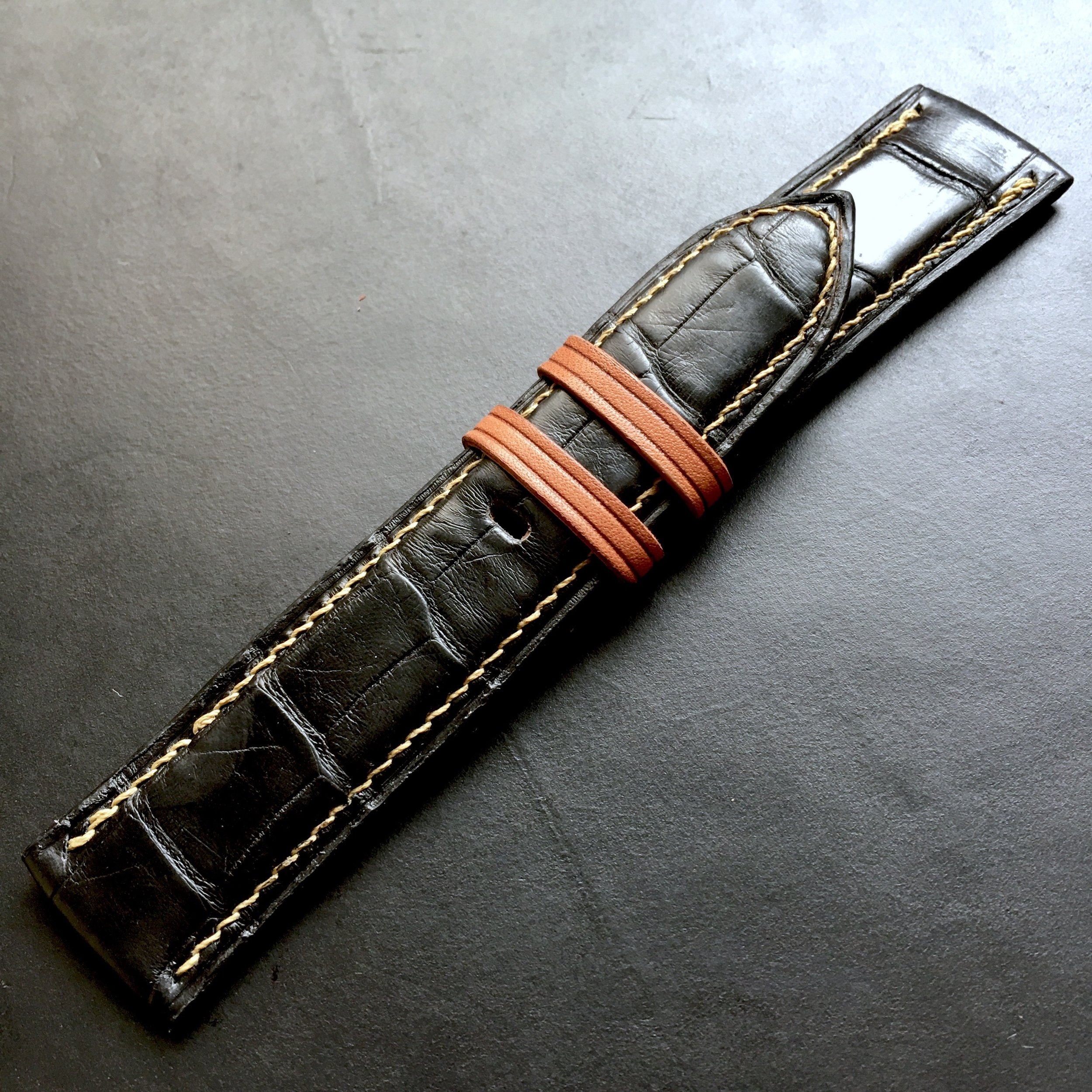 Gloss Black Croc Watch Strap