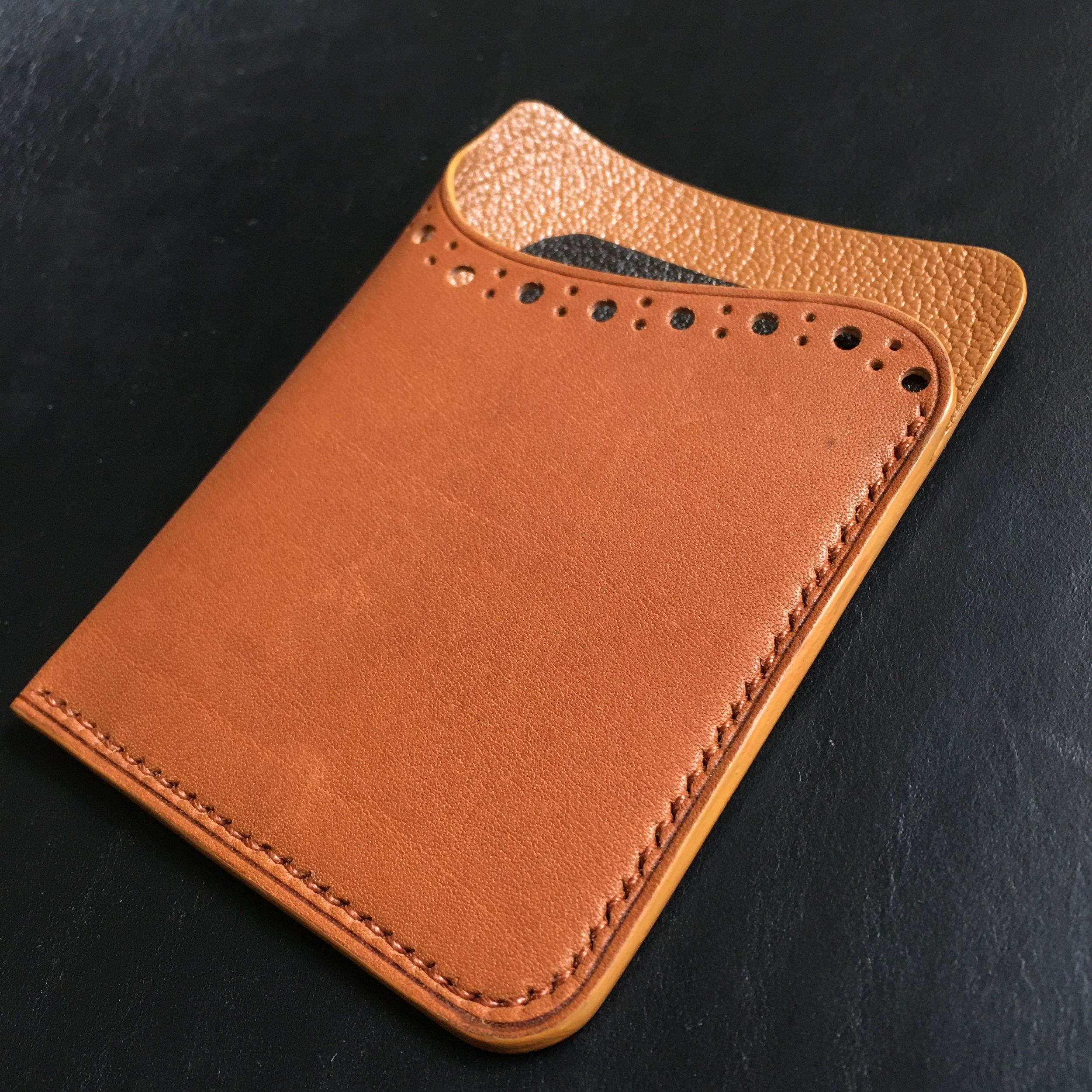 Minimalist Brogue Cardholder with 2 compartment (Barenia & Chevre)