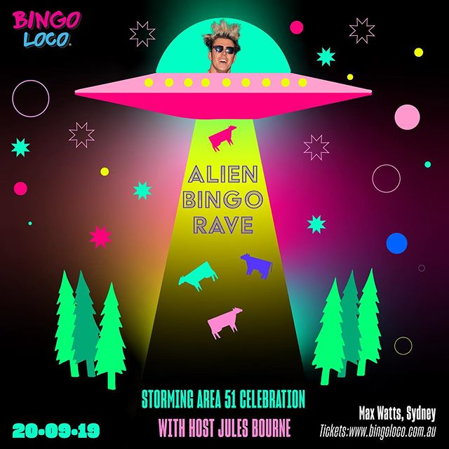 Back in Sydney for a Bingo Loco that is out of this world as we celebrate the storming of Area 51. Tickets at www.bingo-Loco.com/sydney