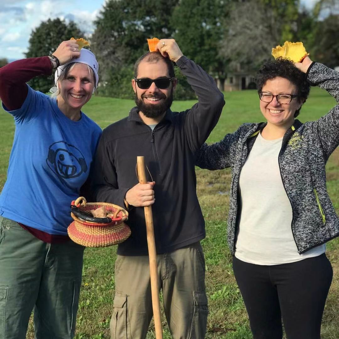 """From left to right, Kim Fleck, Erik Harris, and Andrea Muraskin (""""Healing Is In Your Hands"""" producer) on their foraging walk"""