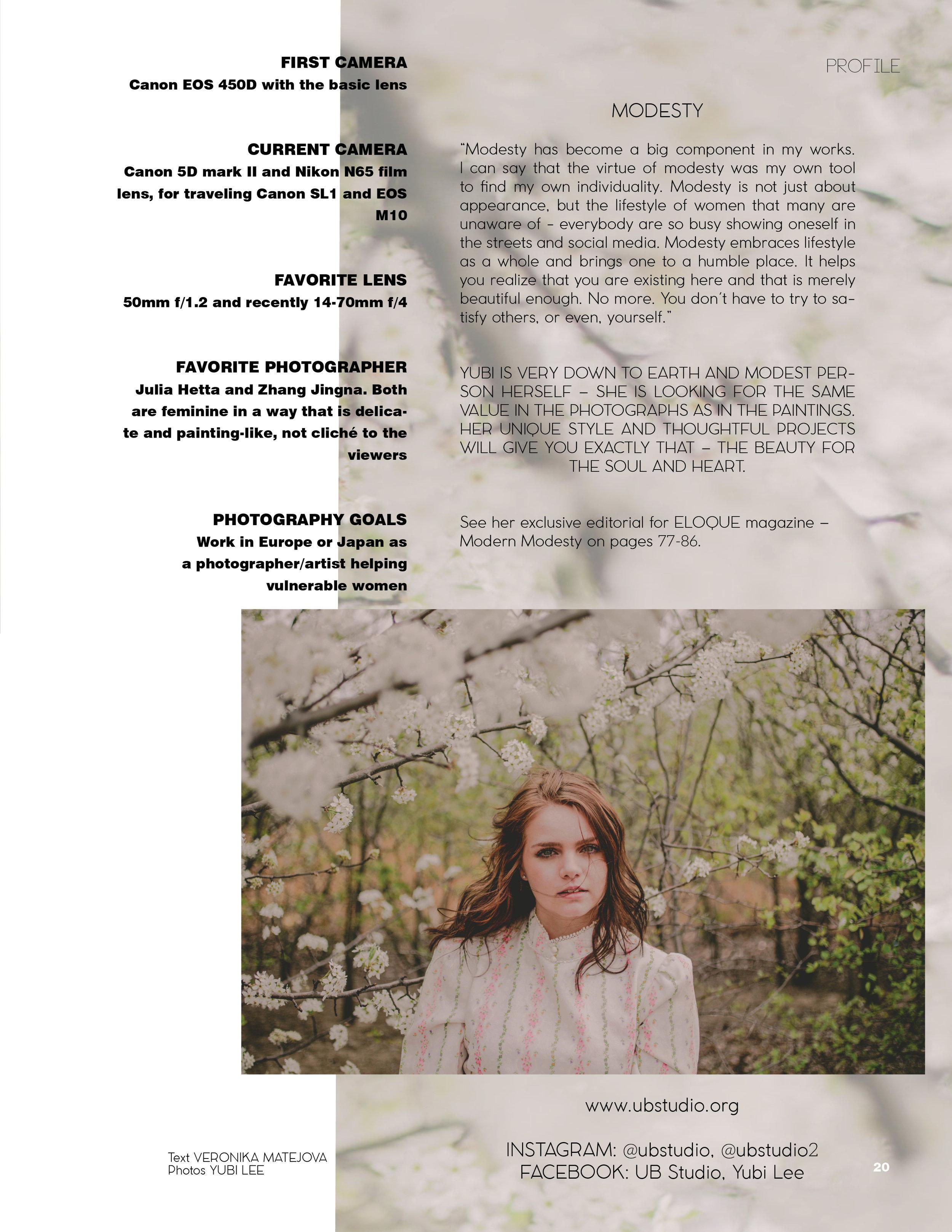 Yubi Lee in Eloque magazine