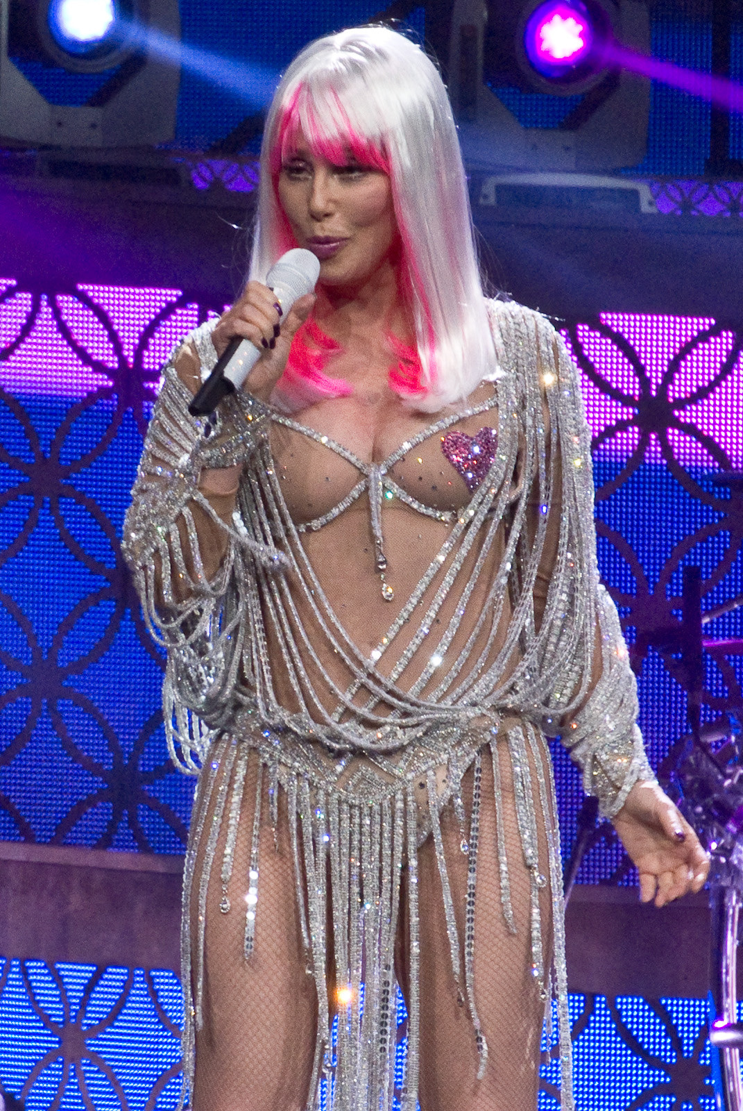 Cher at work, nearly naked. (Photo by David Carroll)
