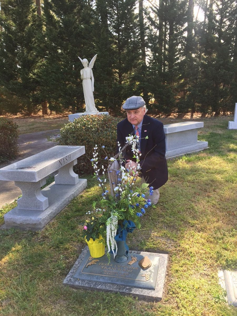 Photo by Kerry Dougherty   Ray Tranchant visiting the grave of his daughter on March 30, 2017. Tessa Tranchant and Ali Kunhardt were killed by an illegal immigrant 10 years earlier.