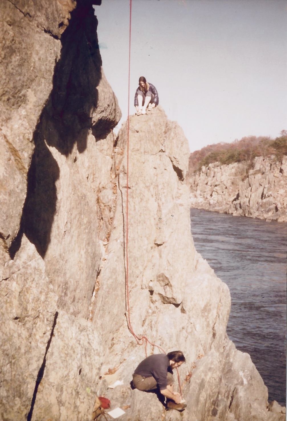 That's me, perched on that rock during my outdoorsy climbing days. So risky. Would have been better off doing body shots and playing beer pong.