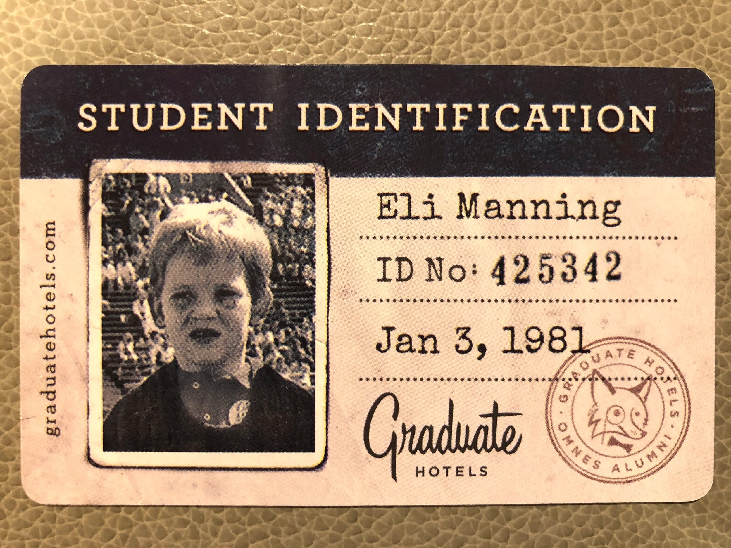 My room key. Seems Eli started college as a toddler. Makes his accomplishments as a quarterback all the more impressive.