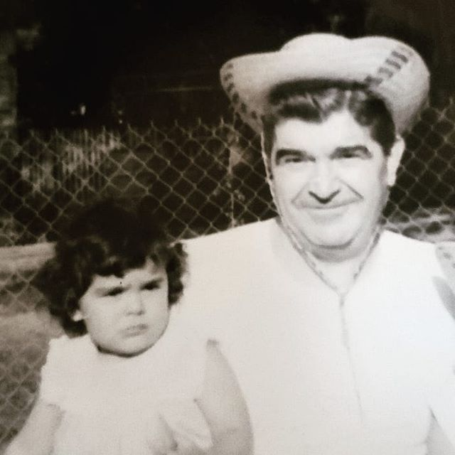 Been a cowgirl since I can remember and not happy that my Papou took my hat! #luckycowgirl #bestpapou #spinningangelasweb
