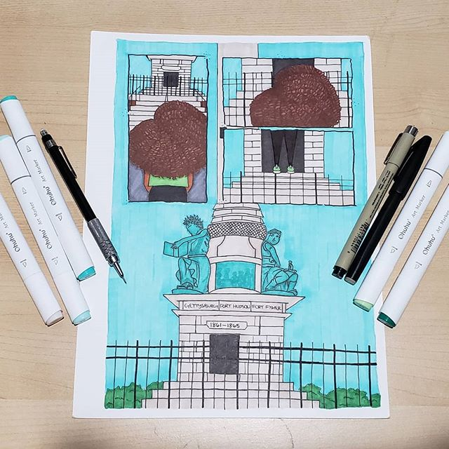 Sorry I haven't posted in a while☹ I've been working on my comic book for @SiteProjects Public Art Fellows '18🤗. A group of students and I have created comics about different New Haven monuments. We all worked really hard on them & they all look amazing❤. This is only the first chapter, I will be continuing this comic😁.
