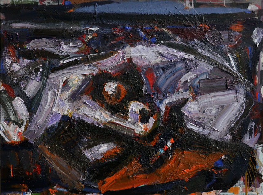 An Ancient Head came to New York Shore, 2013 - 14. Oil on canvas, 36 inch x 48 inch