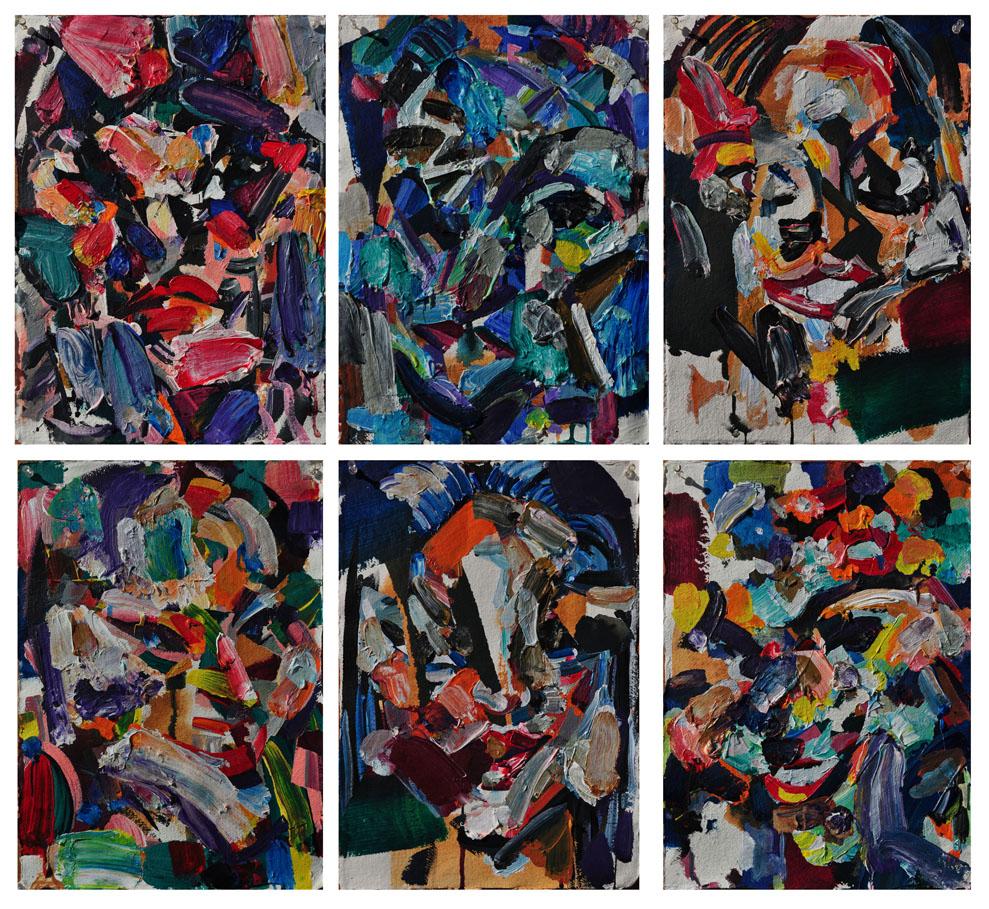 Six Women, 2011. Polymer emulsion on paper, 46 inch x 61 inch