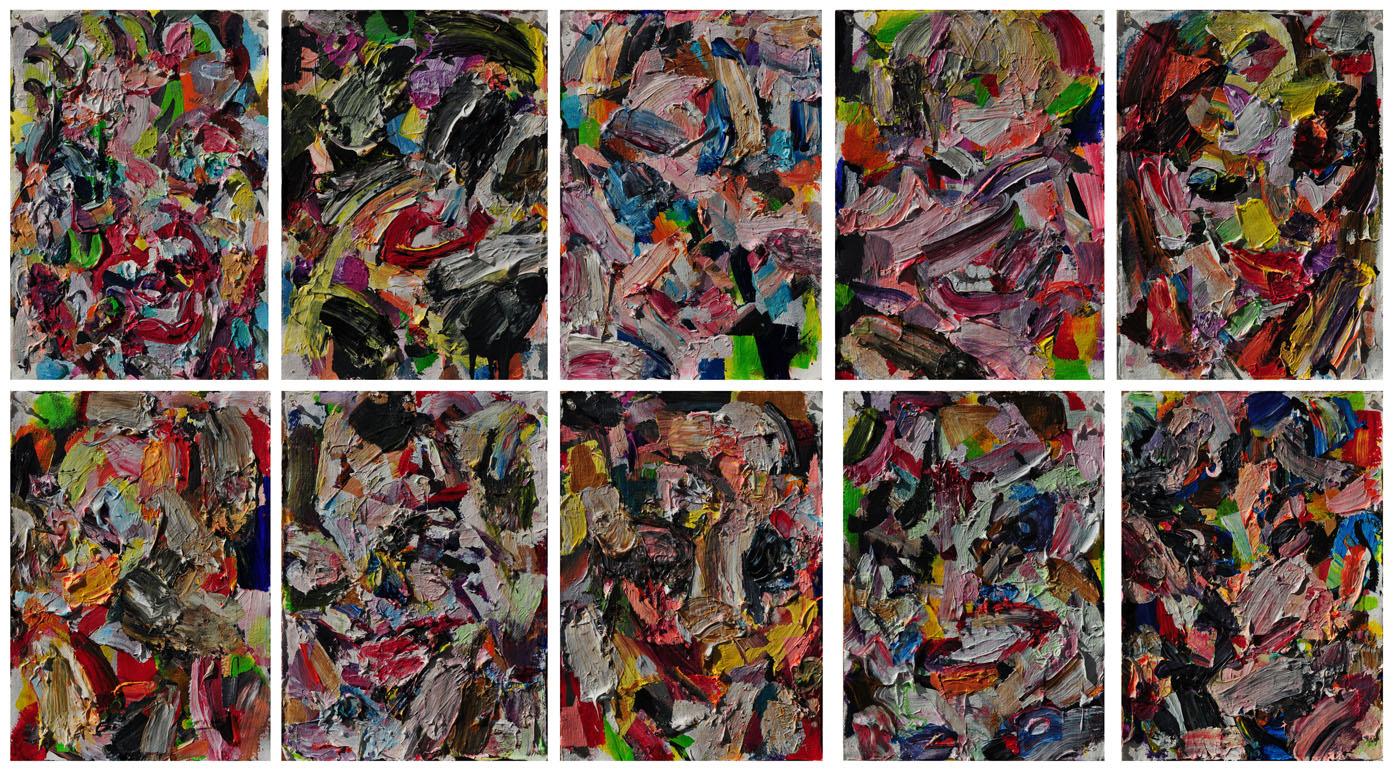 Ten Women, 2011. Polymer emulsion on paper, 34 inch x 63 inch
