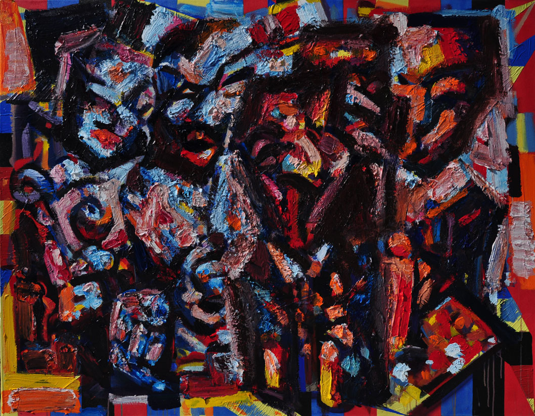 Figures in Front of an Abstract Painting, 2014 -15. Polymer emulsion on canvas,50 inch x 65 inch