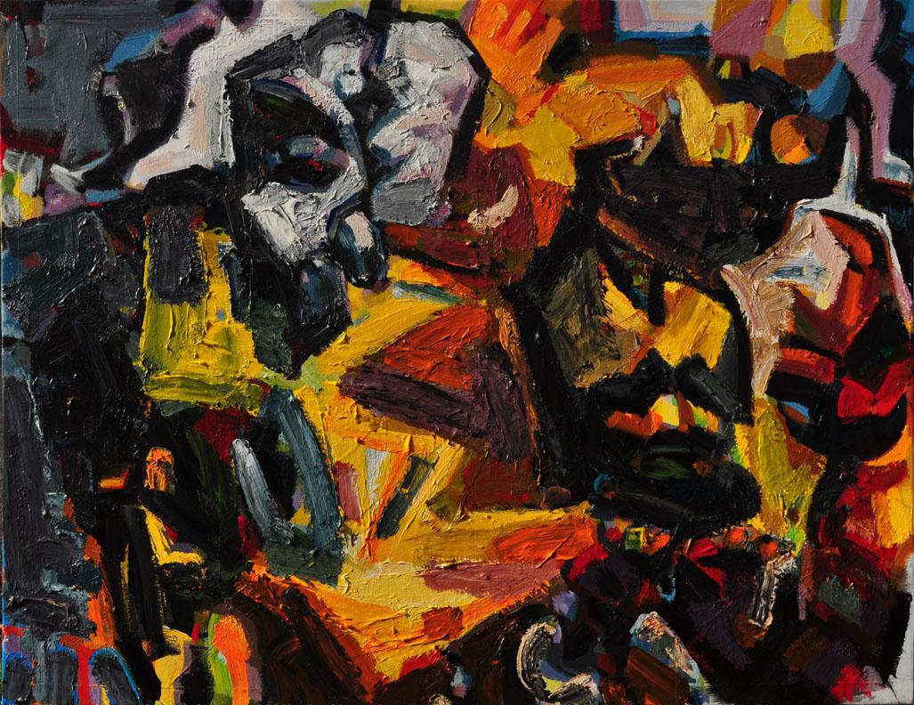 A Quasi Quantum World, 2014. Polymer emulsion on canvas. 48 inch x 62 inch