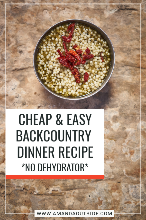 Homemade backpacking food can be so easy and cheap with this backcountry dinner recipe. Click through for a complete video tutorial and written recipe for Basil Pesto Couscous! #backpackingfood #backpacking