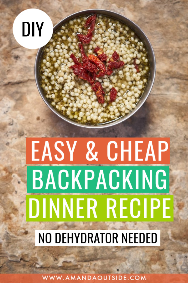 Looking for cheap backcountry food? Check out this easy homemade backpacking dinner idea - basil pesto couscous! Click through for a full video tutorial and written recipe. #backpackingfood #backpacking