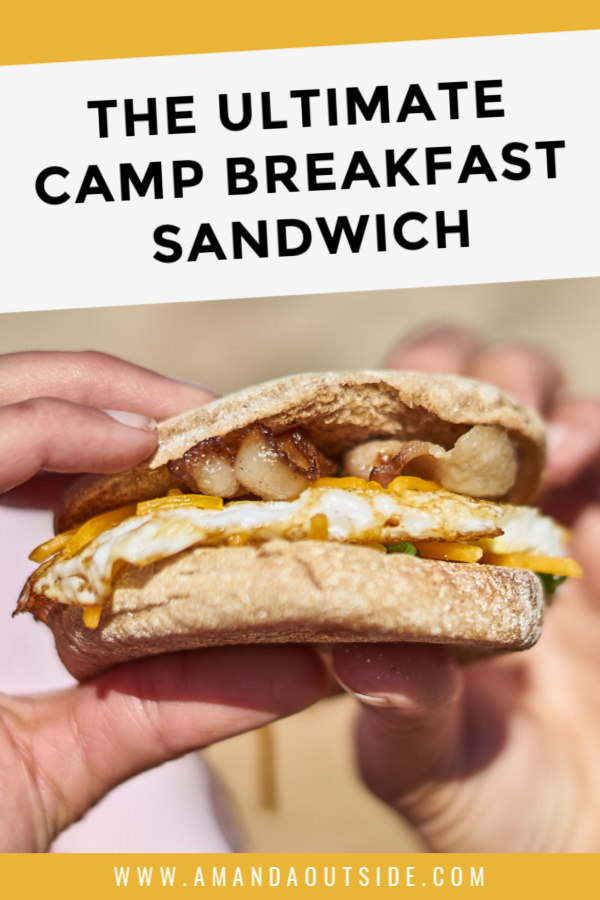 This is the ULTIMATE car camping breakfast sandwich! Click through for a video tutorial, a complete recipe, and a few more awesome camping breakfast ideas! #campfood #camping #breakfast #campingmeals