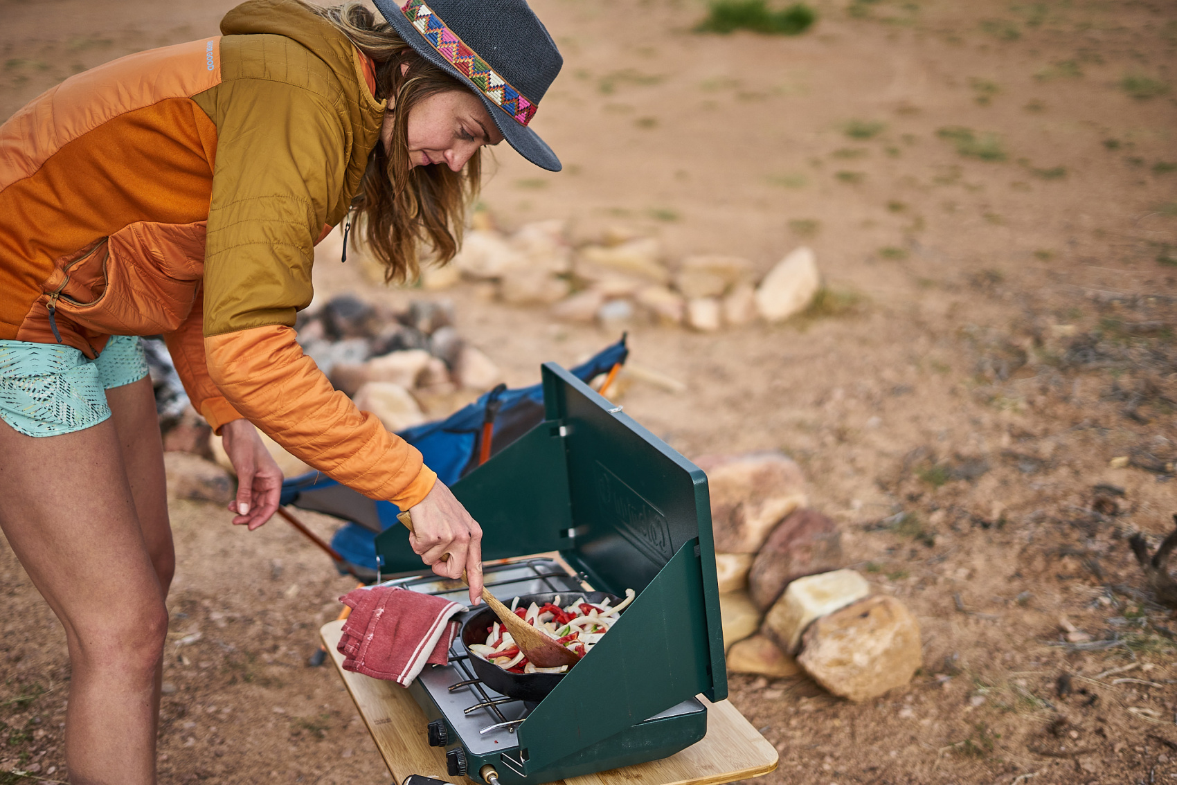 How to cook a great dinner while camping! Recipe for grilled chicken fajitas by Amanda Outside.