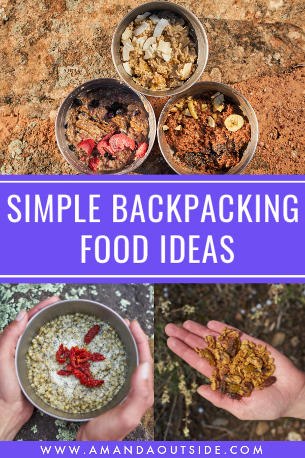 These are some of the BEST simple backpacking food ideas that are so low-cost and delicious! Click through for recipes, plenty of ideas for your entire trip, and a video! #backpacking #backpackingfood #backpackingmeals