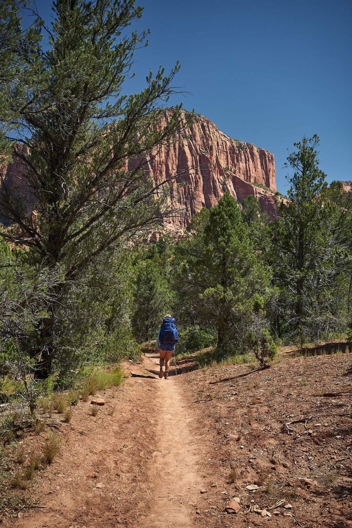 Amanda Outside backpacking through Kolob Canyon. Click through to learn all about Kolob Canyon hiking trails and the best time of year to visit! www.amandaoutside.com