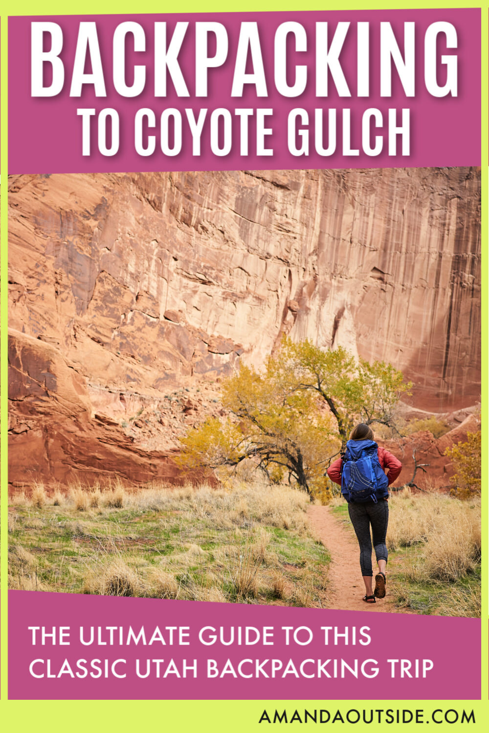 Backpacking to Coyote Gulch is a CLASSIC Utah backpacking trip! Click through for the ultimate guide to planning your backpacking trip. This guide includes the best time of year to go, how to get a permit, water availability, and so much more! By Amanda Outside - a Utah-based blogger with tips and inspiration for your next adventure! www.amandaoutside.com #utah #backpacking #utahtravel
