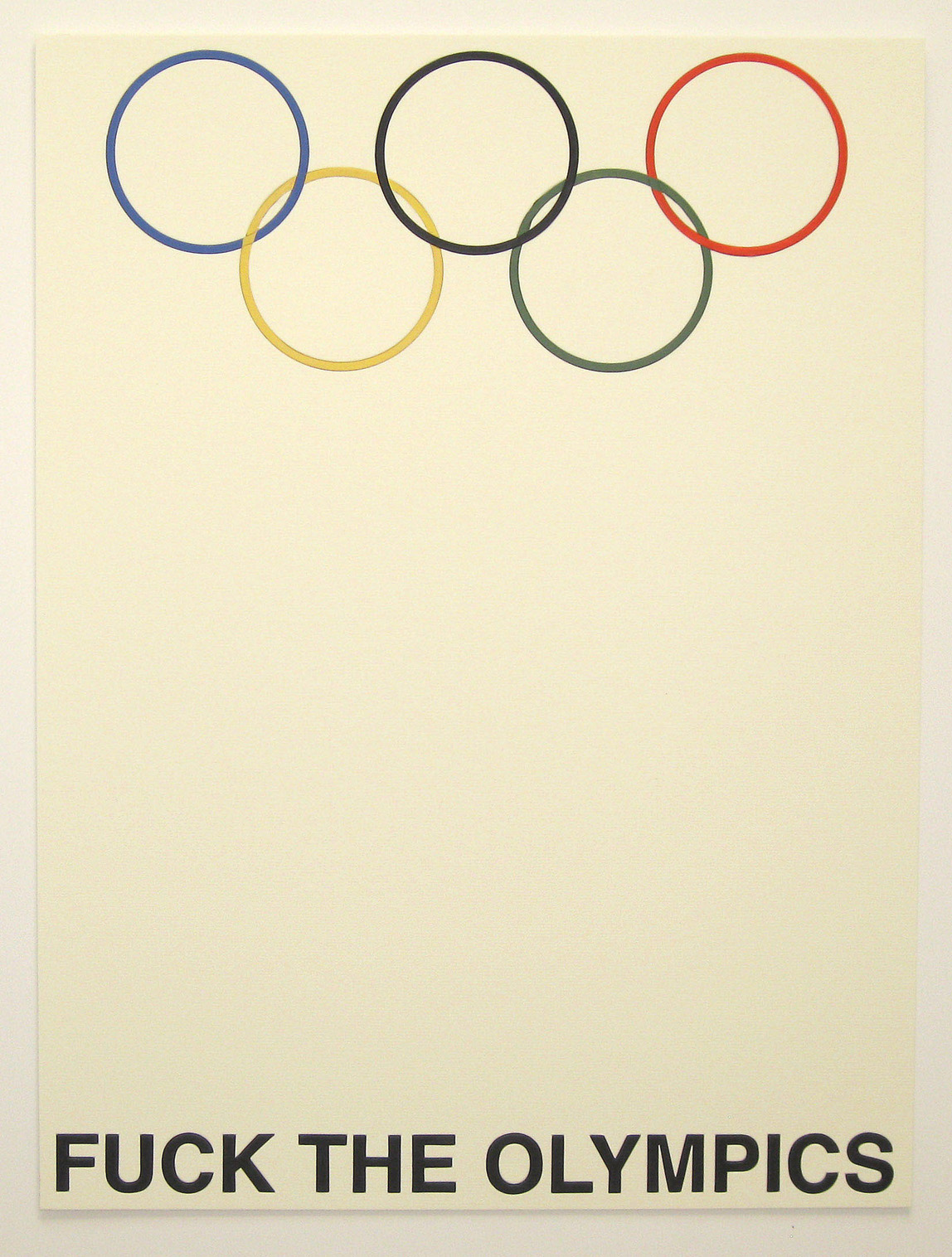 Fuck the Olympics, Die-cut board, signed edition of 15. $500