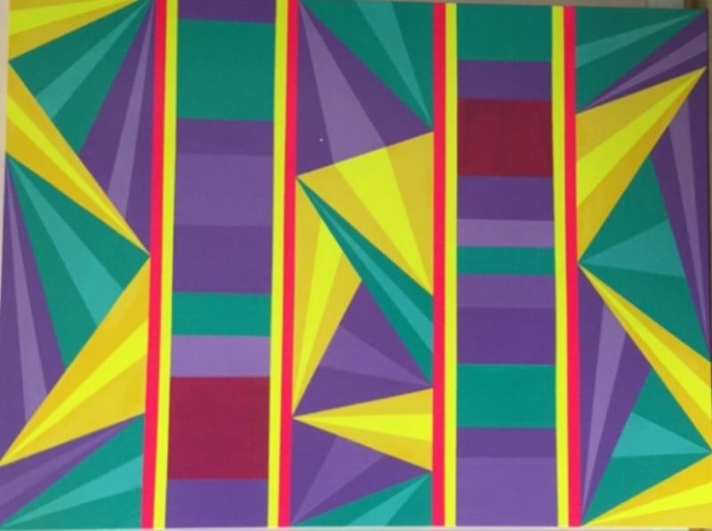 "SUNSHINE'S LAMENT    Acrylic, canvas    36""x48""x1.5""    $1,100"