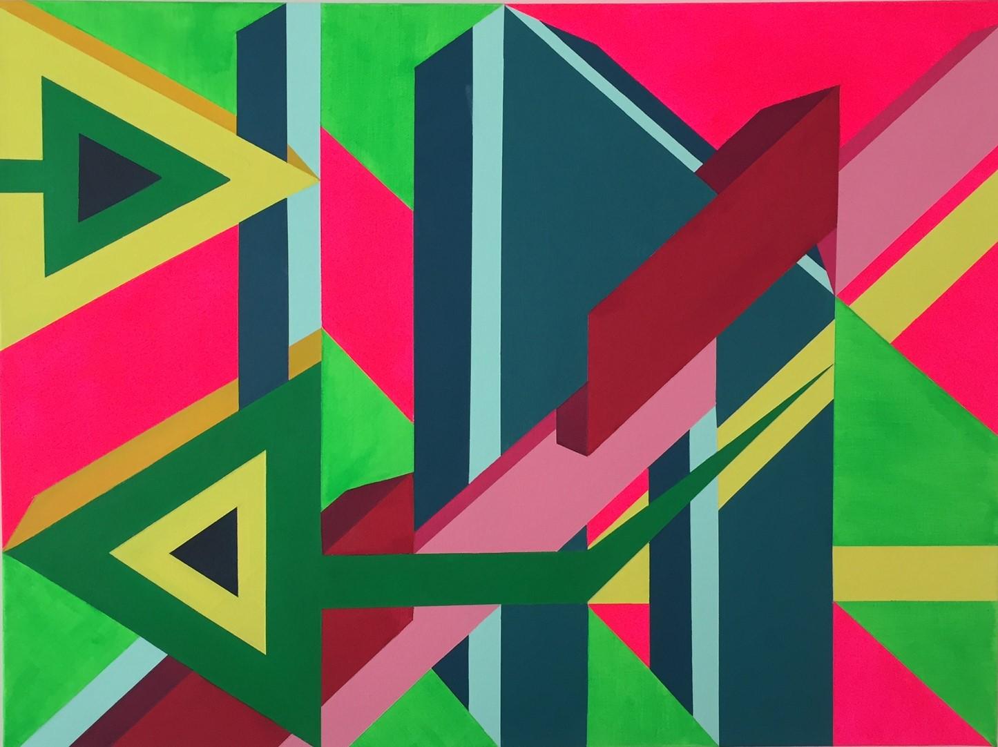 "Extrapolation 30    Acrylic, canvas    18""x24""x1.5""    SOLD"