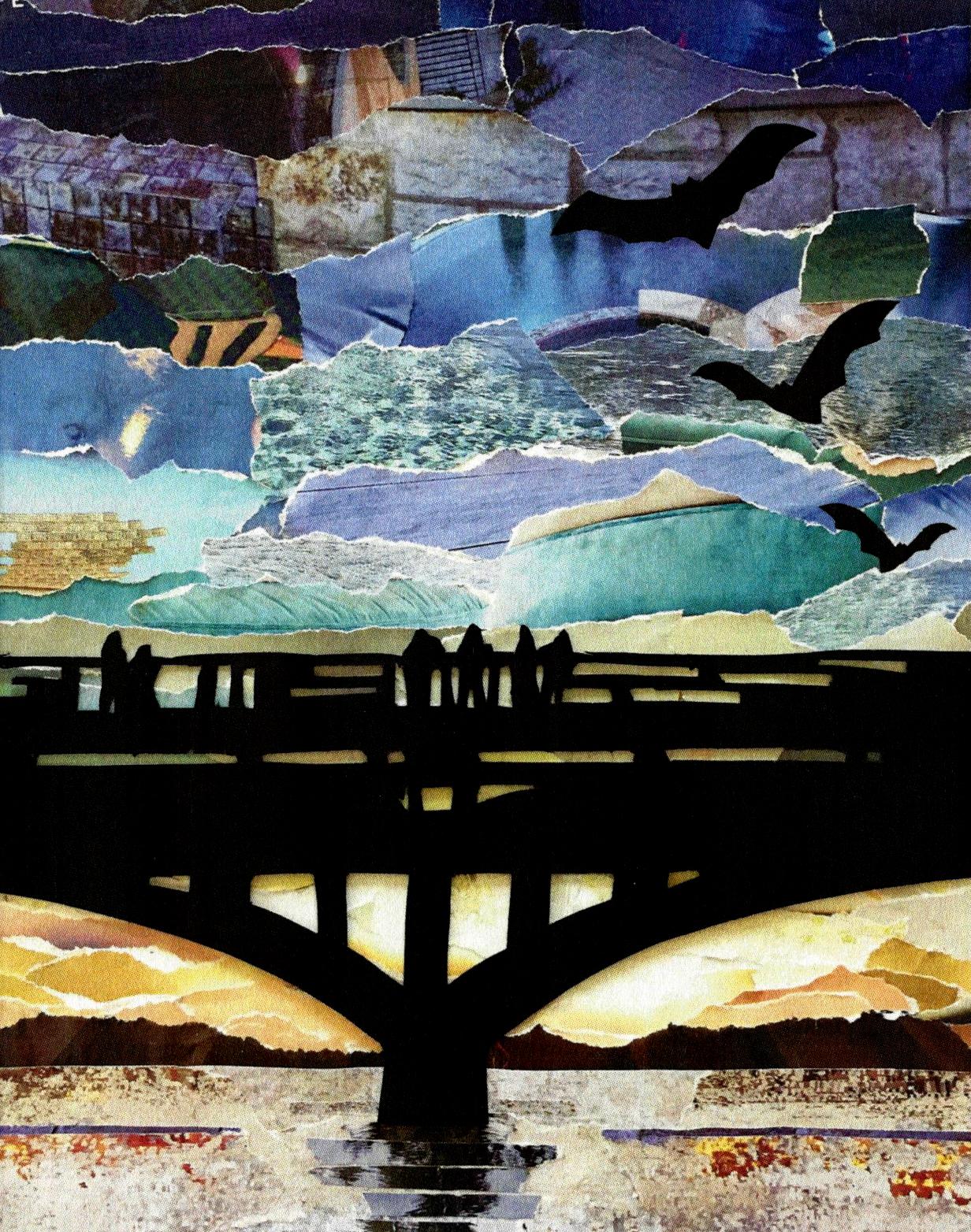 Congress St. Bat bridge at twilight, 9x12