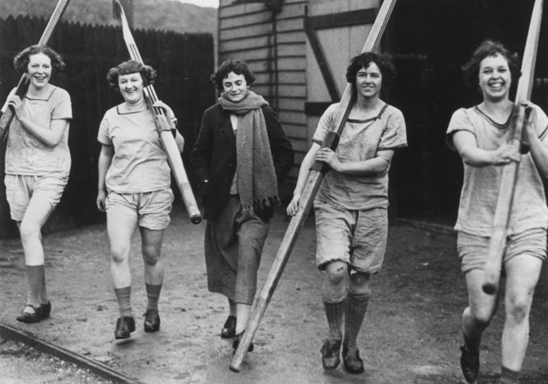 St David's Ladies rowing crew who were narrowly defeated by Wessex in the final of the Challenge Fours in 1924.