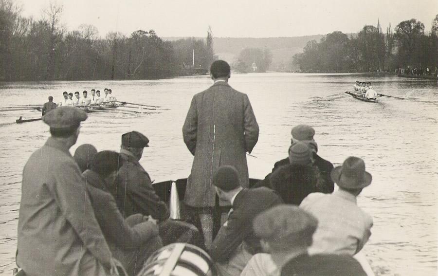 RUBC racing London University at Henley in 192.