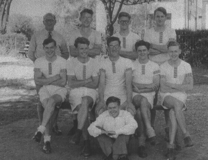RUBC's Thames Cup VIII with coach Frank Ortner, 1950.