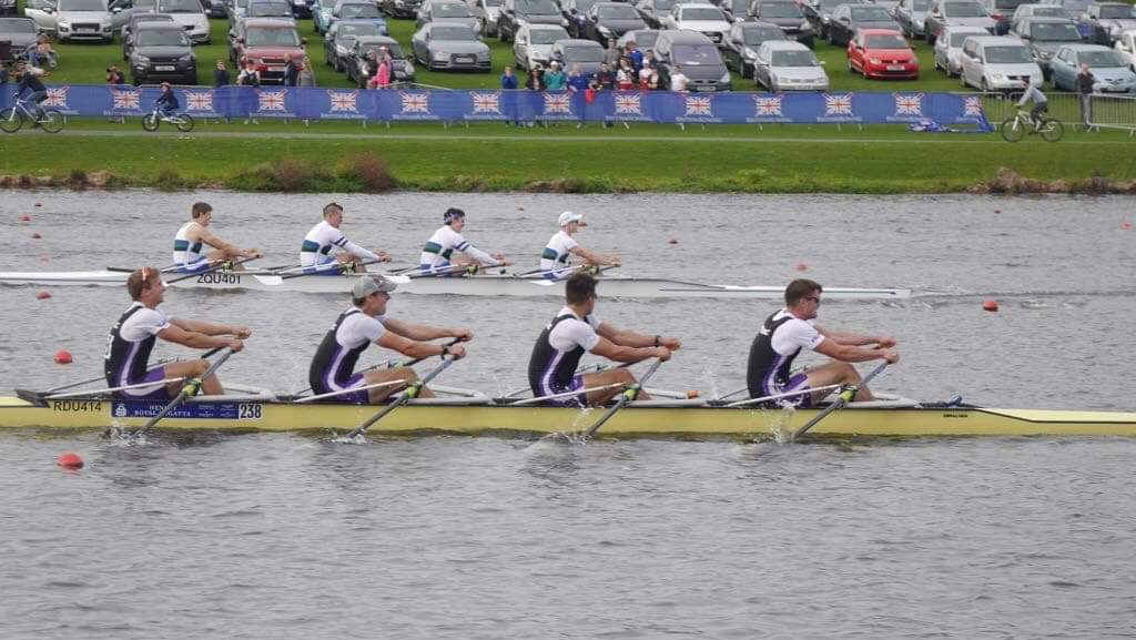 Our top men's boat winning the Open U23 quads at Senior British Rowing Championships