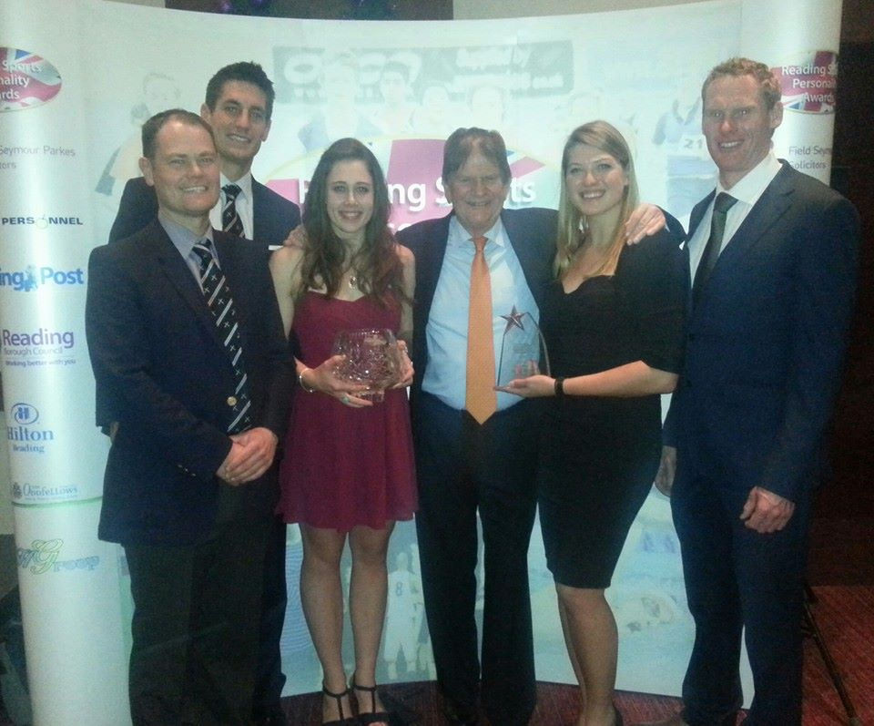 Collecting the RUBC award from John Madejski (centre) - Will Rand, Sam Townsend, Pip Johnson, Christiana Amacker & Sean Casey.