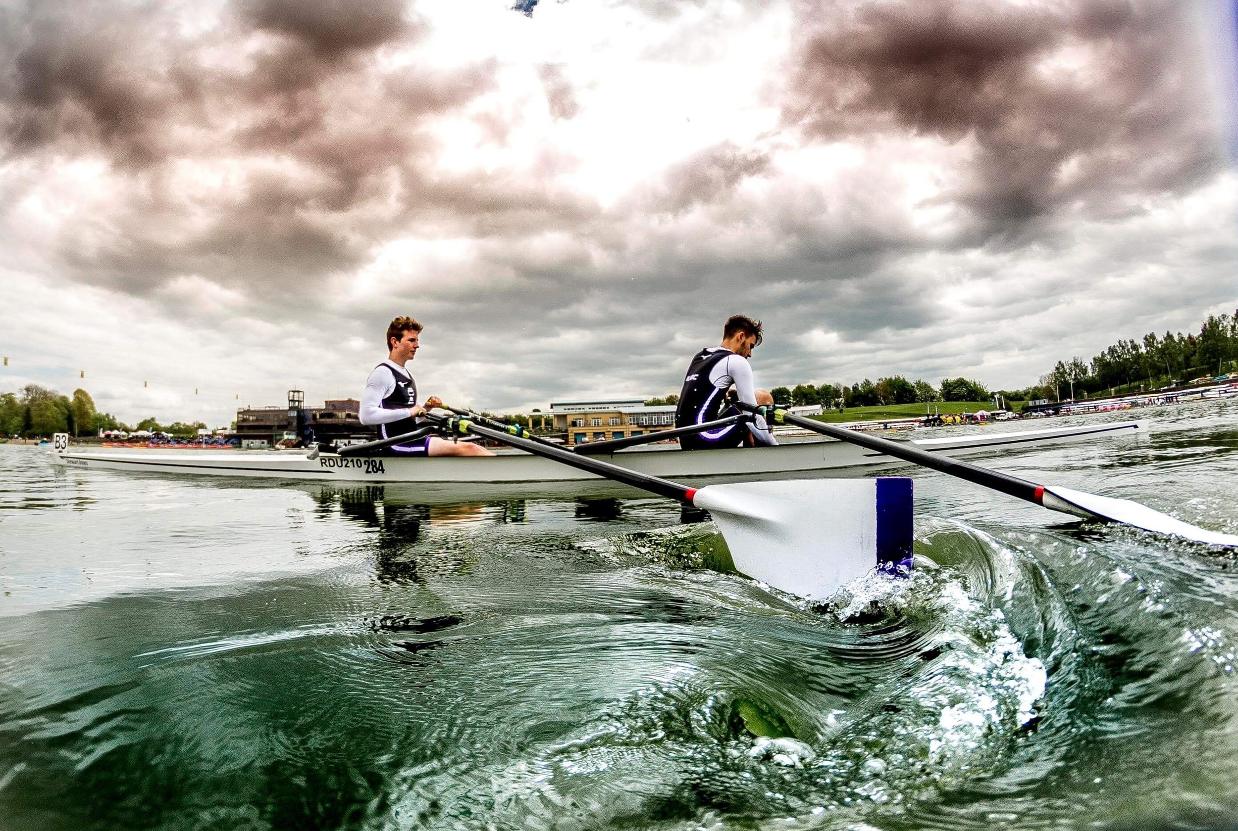 Oli and Luca boating for their rep for the Championship Lightweight 2x