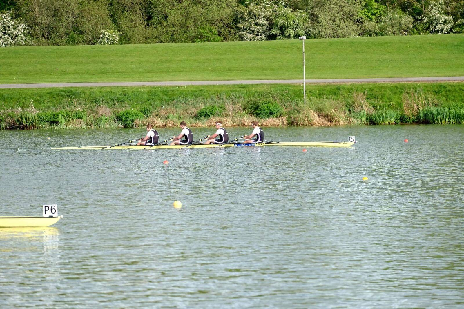 The Men's Intermediate A 4x: Alex, Dave, Joe and Rob picking up a bronze medal - Good job Boys.