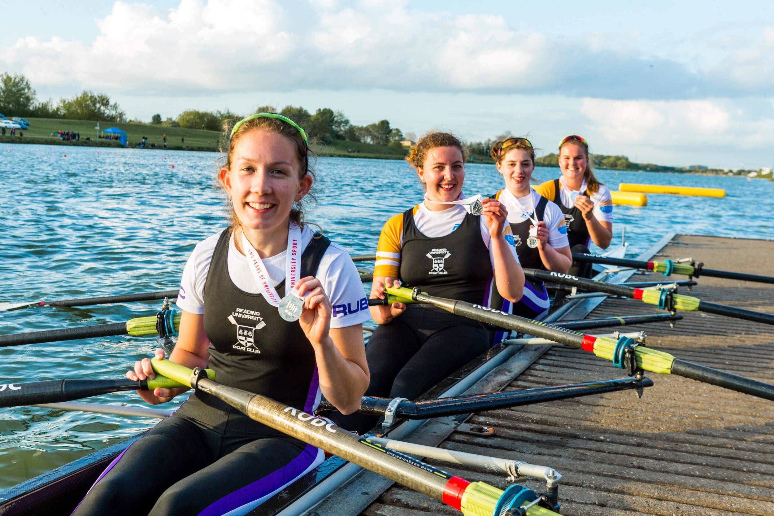 The Women's Intermediate A 4x: Emily, Maria, Charlotte and Kate - Silver medalists.
