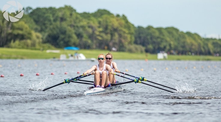 Chloe Knight in the stroke seat of the Women's Lightweight double sculls at the Under 23 World Championships.