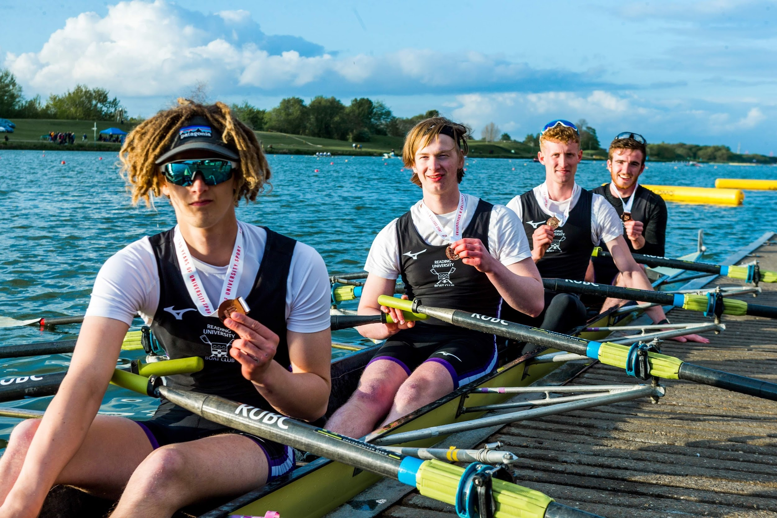 Above: Angus Hinton (Author) at bow in the medal winning BUCS beginners quad at the 2019 regatta.