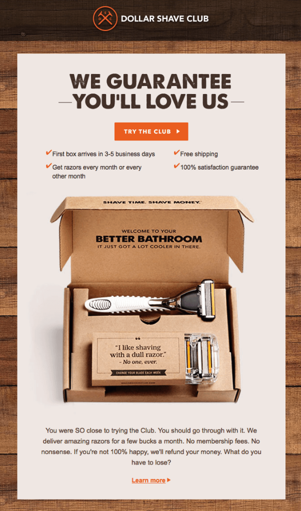 Source:  Dollar Shave Club , via  Really Good Emails