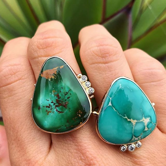 These Royston urquoise, gold and diamond beauties by @bcejewelry are now available at R&D. . . . #bcejewelry #roystonturquoise #turquoise #gold #diamonds #handmade #losolivosca #randdlosolivos #finejewelry