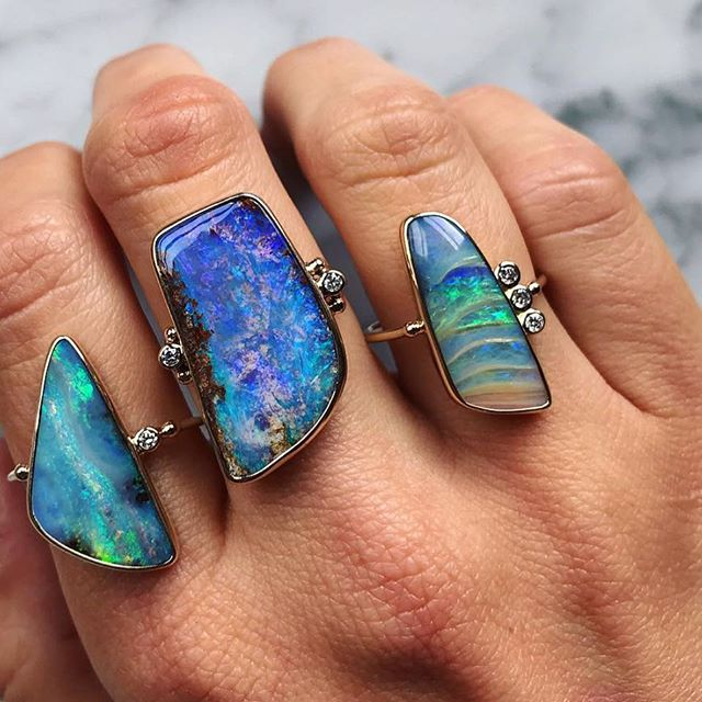 These boulder opal, gold and diamond beauties by @bcejewelry are now available at R&D. . . . #bcejewelry #boulderopal #gold #diamonds #handmade #losolivosca #randdlosolivos #finejewelry