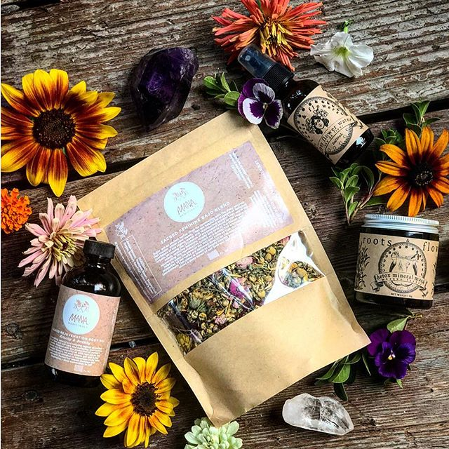 ::🌙new мoon ѕelғ-care gιveaway🌙:: •• I am excited to announce this radical self care giveaway just in time for the new moon solar eclipse! I have teamed up with my girl Monica of @rootsandflowers to bring you a seriously luscious herbal self care package. •• We don't know about you but we are feeling the need for some extra self love in the midst of all these eclipses and retrogrades! Lots is stirring in the universe right now and sometimes we are asked to slow down, take a deep breath and remember to be embodied. •• What a better way than with herbal self care: face masks, body oils, yoni steams oh my! The lucky winner will receive a Sacred Rejuvenation Body Oil and a Sacred Feminine Bajo Steam Blend from @manamedicinals as well as a Gypsy Flower Water Kombucha Toner,  and Detox Mineral mask from @rootsandflowers. All grown and crafted by hand with love in the heart of the Siskyou mountains by some seriously radical babes! •• To WIN this magical self love package just tag 2 friends on this post you want to have a rejuvenating self care day with and follow both @rootsandflowers and @manamedicinals. Share this post and tag us for an extra entry! The Giveaway closes this Wednesday at midnight! •• So give yourself a little something extra this week, and give yourself permission to pause for some seriously needed self care! •• #selfcare#selflove#newmoon#herbalmedicine#naturalbeauty#abyanga#yonisteam#facialtoner#deroxmineralmask#herbalbodycare#herbalism#ayurveda#handmade#homegrown#wildcrafted#loveyourself#newmoonselfcare#plantbased#flowerpower#ladybosses#radicalsfcare#rootsandflowers#manamedicinals