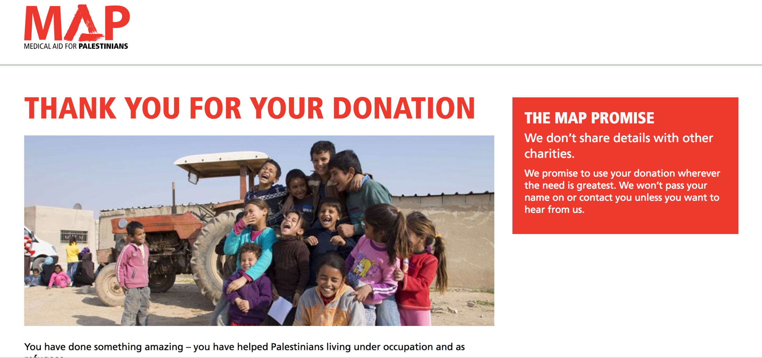 Screen shot from our donation to MAP