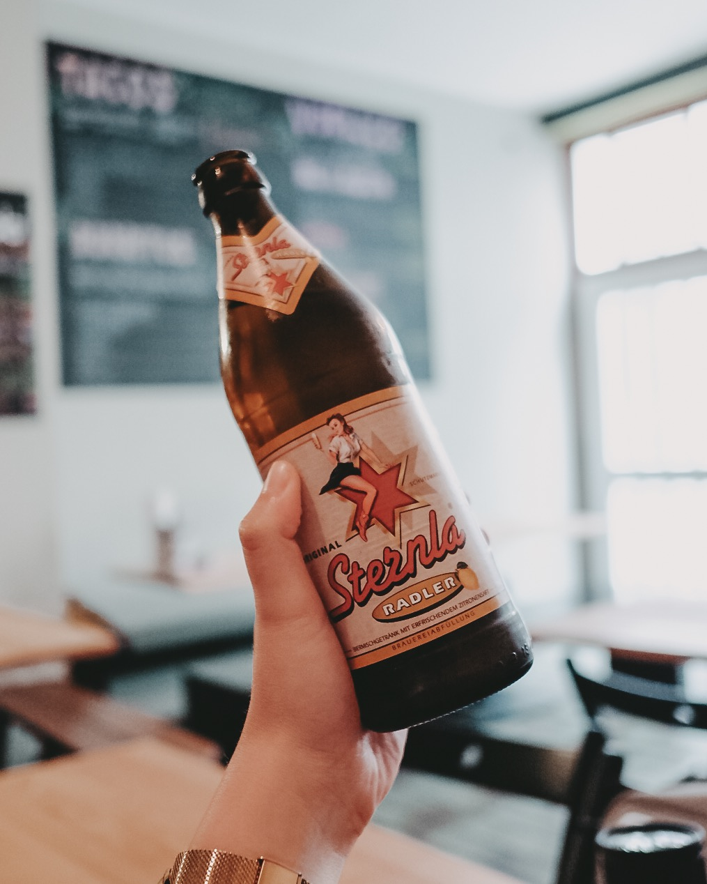 MAIZ TAQUERIA - To be honest: We were way too excited for our food. So here's a picture of the excellent Radler we had instead of a burrito shot.