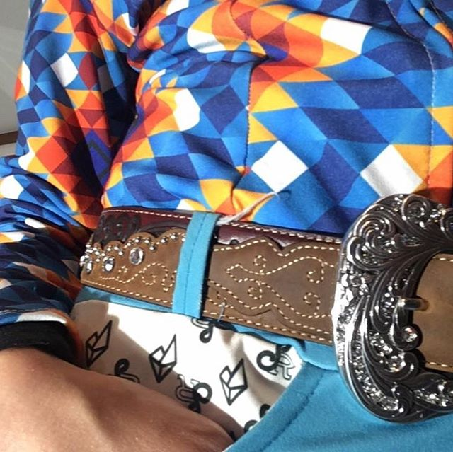 We picked up a beautiful new rhinestone belt today from @pleasanthillssaddle for our upcoming photo shoot!