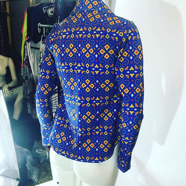 """LOTS of new stuff about to drop:) A behind the scenes look at our cobalt blue """"Crazy Crafty"""" print button-up show shirt."""