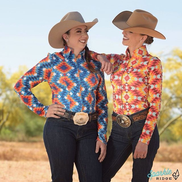 At Sparkle Ridge we're all about fixing another woman's hat without telling the world it was crooked 💎  Here we have founder Anita & Ms. Lady Kay wearing the southwest punch print in two color ways. Coming soon to https://www.sparkleridge.com/  #sparkleridge #westernwear #showclothesforsale #barrelracing #horseshow