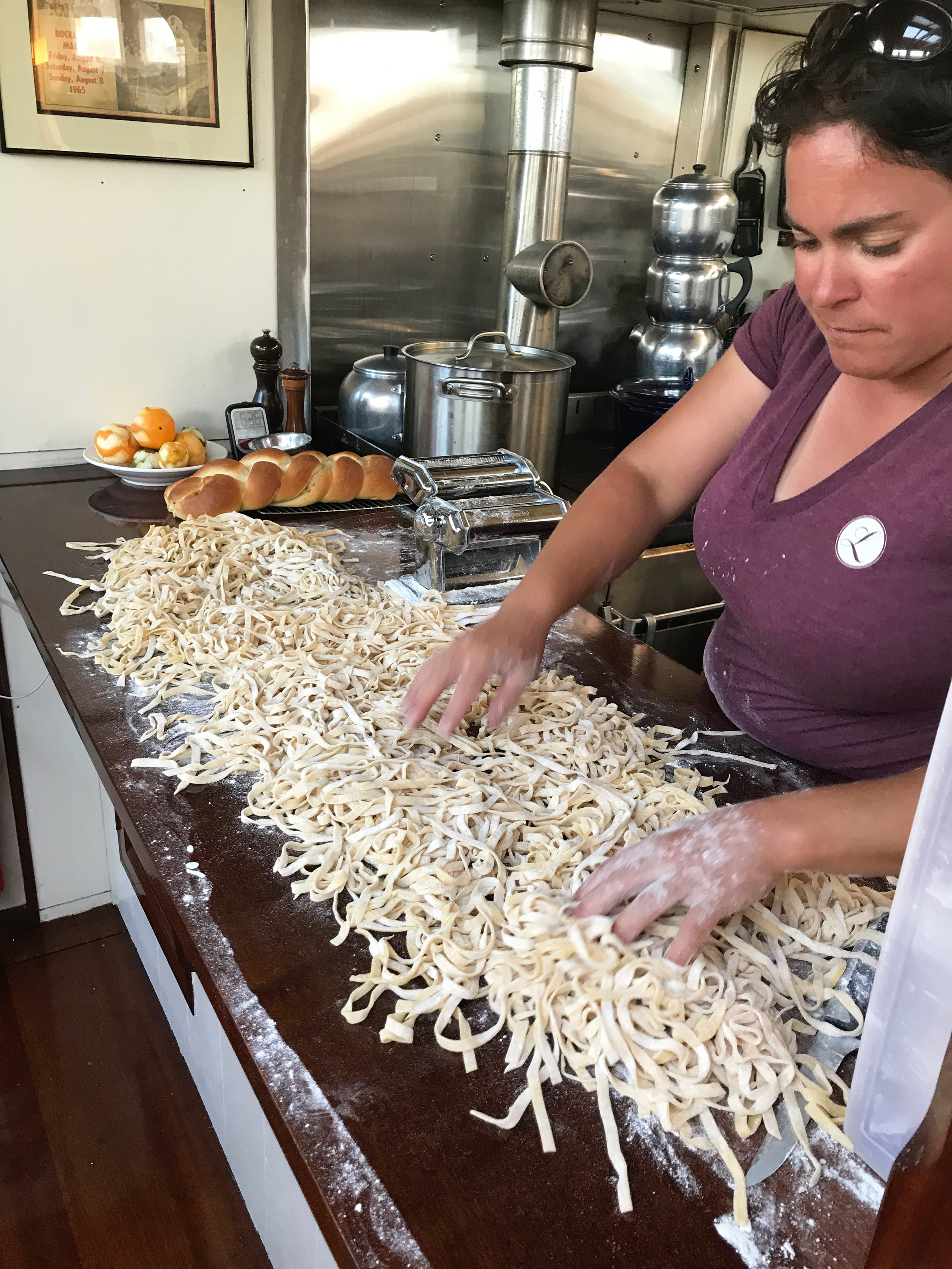 Anna making fresh pasta. On a sailboat!